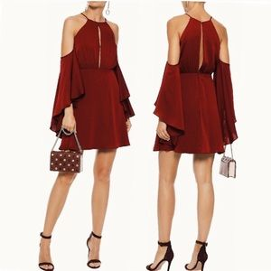 NWT Milly Silk A-Line Melody Dress in Bordeaux - 4